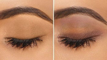 Before and after look using Lakme 9 to 5 Eye Color Quartet Eye Shadow