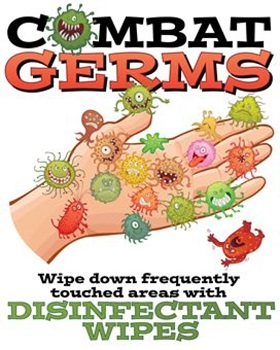 Germs spread from frequently touched surfaces