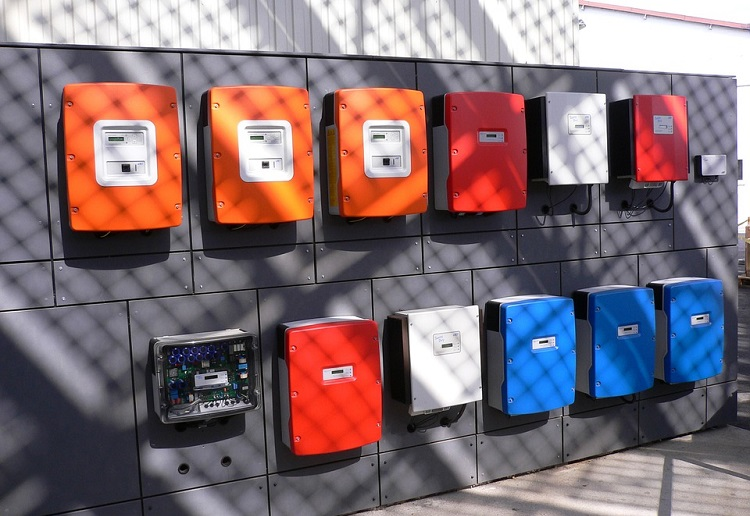 Inverters with different color mounted on wall