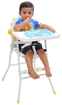 Kurtzy Kids Foldable High chair with Cushion and Safety Belt for Baby